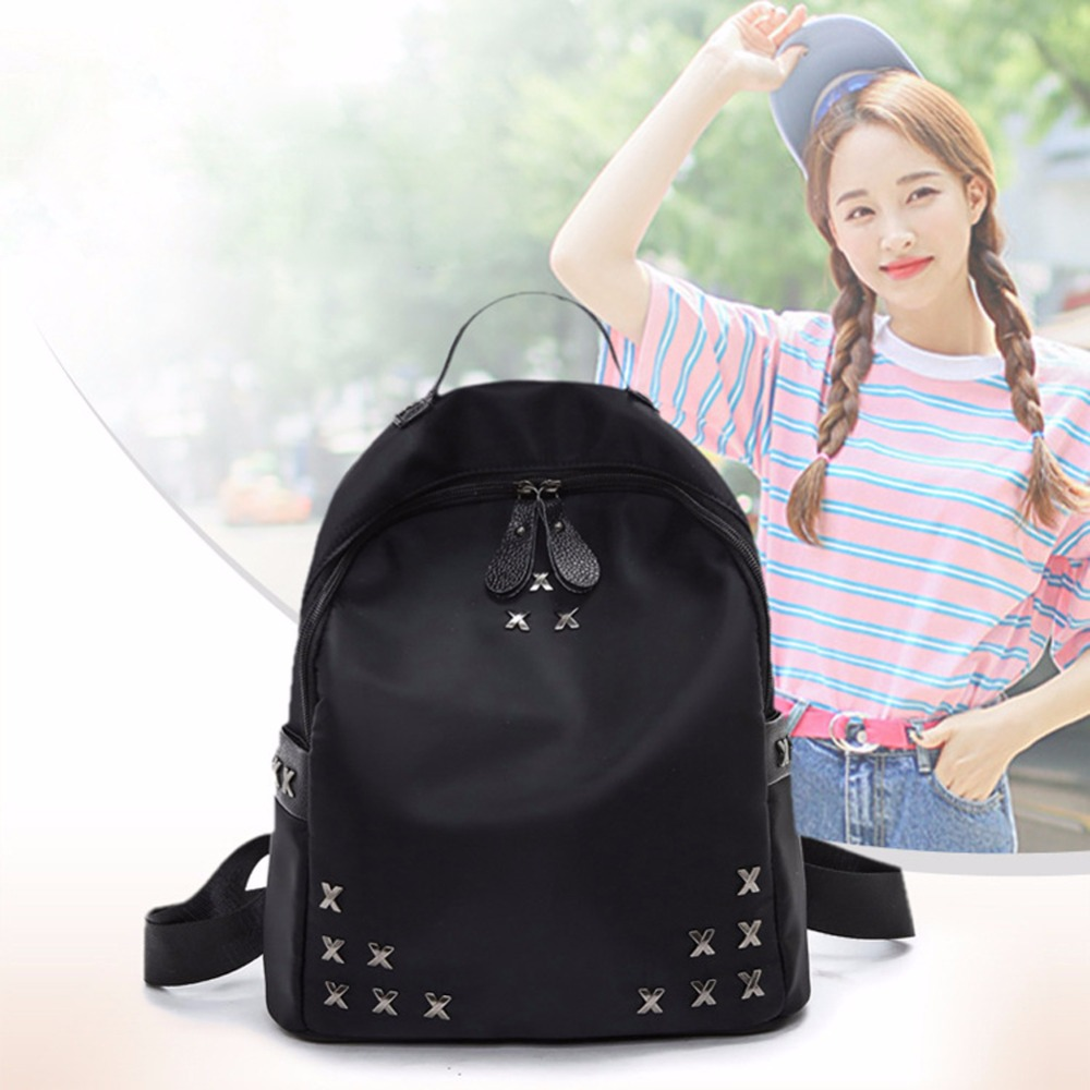 New Arrival Europe Knitting PU leather Women Backpack Preppy Fashion Rivet School Bags 4 Color Metal