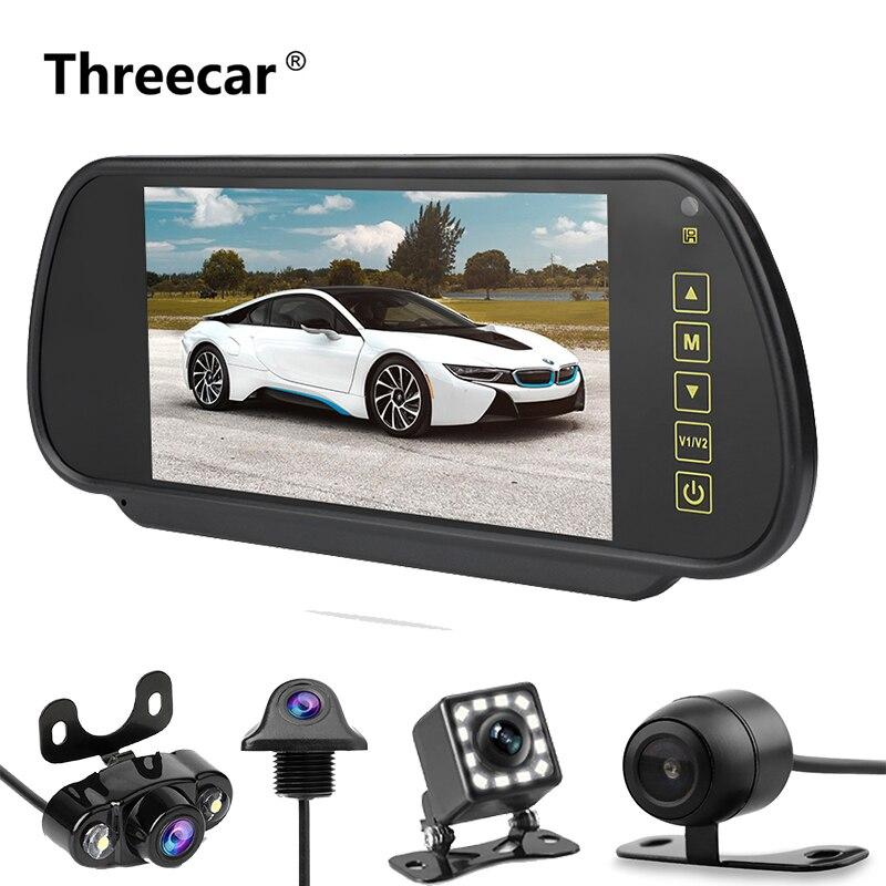 Высокое качество 7 дюймов ЖК дисплей зеркало заднего вида Автомобильный монитор заднего вида камера заднего вида приоритет AV светодиодный ночное видение