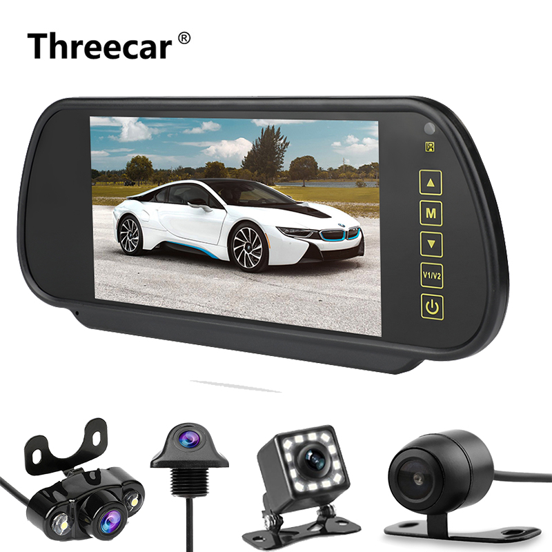 Rearview-Mirror Car-Monitor Lcd-Display Reversing-Backup Night-Vision 7inch AV LED Priority title=