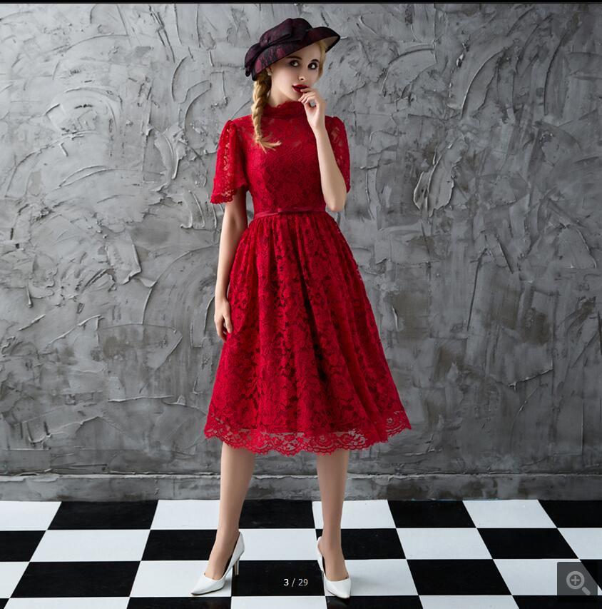 Vestidos De Novia wine lace short a line   prom     dress   high neckline with sashes petite   prom   gowns modest   prom     dresses