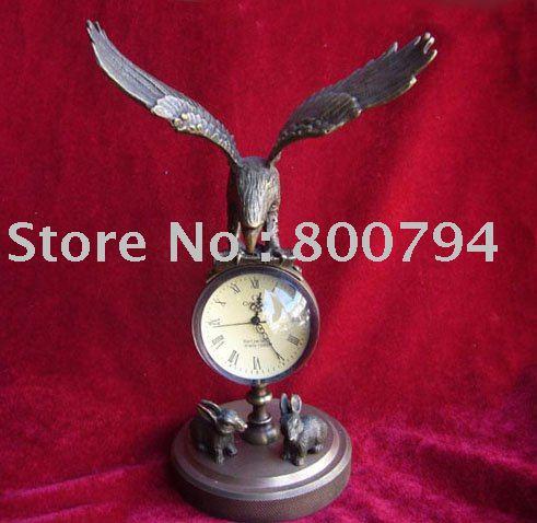 Rare Vintage Copper Mechanical Clock, Hawk, 24cm * 13cm