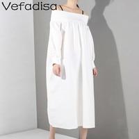 Vefadisa Black White Slash Neck Dress With Shoulder Straps Women Puff Sleeve A Line Dress Women Mid Calf Long Dress ZQY307A