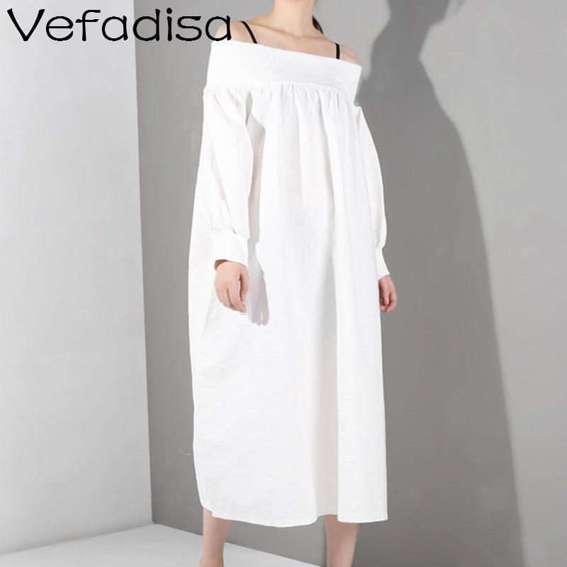 Vefadisa noir blanc Slash cou robe avec bretelles femmes manches bouffantes a-ligne robe femmes mi-mollet longue robe ZQY307A