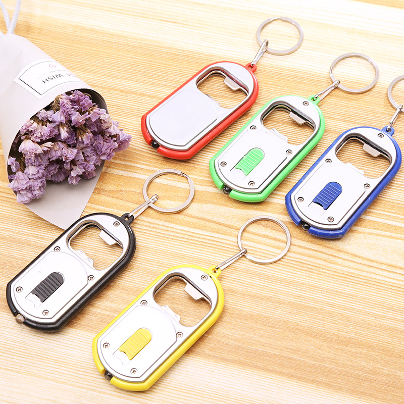1000pcs lot 2 in 1 Multifunctional Opener Cool Bottle Openers With LED Light Opener Keychain Key