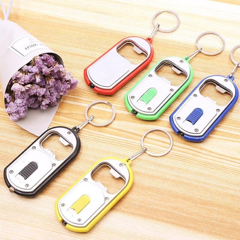 1000pcs/lot 2-in-1 Multifunctional Opener Cool Bottle Openers With LED Light Opener Keychain Key Ring Lamp Keyrings