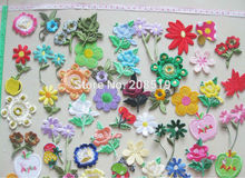 AE0060 Assorted Patterns mixed colors 25pcs Iron On flower Patches Garment accessories