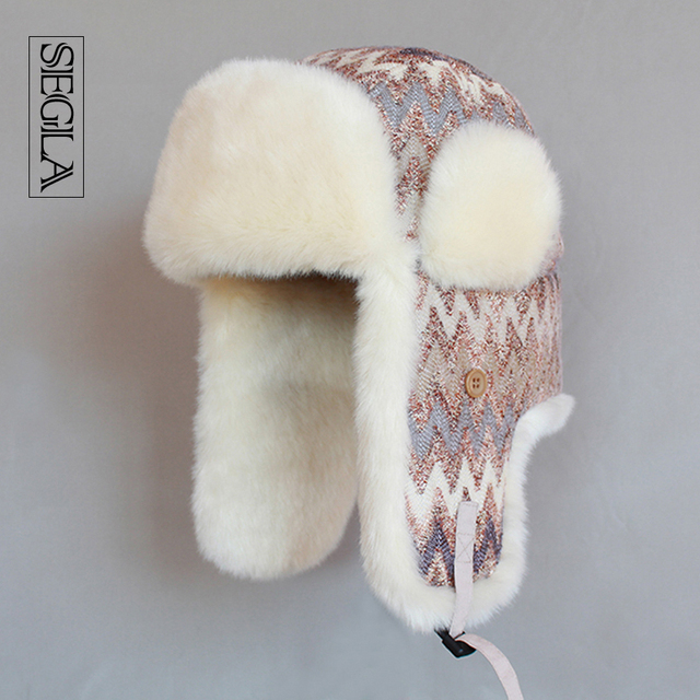 SEGLA Women Trapper Hats Winter Wool Knitted Aviator Hat Russian Ushanka Thicken Warm Plush Snow Ski Cap Earflaps Bomber Hat
