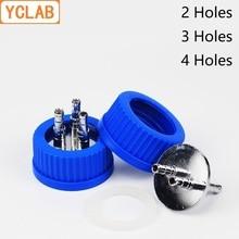 YCLAB Blau Kappe mit 2/3/4 Edelstahl Löcher Reagenz Fütterung Flasche für Fermenter Anaerobe Injection Mobile phase Labware