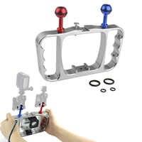 CNC アルミデュアルボールマウントアダプタブラケットキットダイビングビデオ補助光移動 HERO3 3 + 4 5 6 アクションカメラアクセサリー
