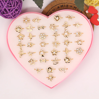 Wholesale Mix Lot 36pcs Cartoon Crystal Rings For Kids Girl Boy Mix Styles Colorful Crystal Gold