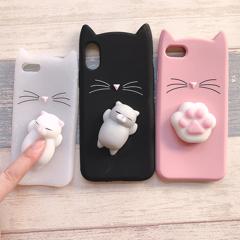 3D Cute Japan Glitter Bearded Cat Case For iphone 5 5S SE X Squishy Cat Cases For iphone 7 8 6 6S Plus Silicone Mobile Phone Bag (7)