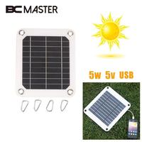 BCMaster 5 Watt 5 V Tragbare Solar Power Panel Externe Für Mobile Handy für Mp3/4 Ladegerät USB Port 4 Clip Universal