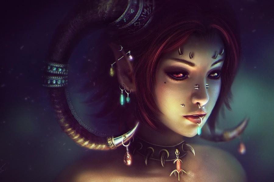 Diy frame heterochromia horns demon sexy girl woman fantasy artwork poster fabric silk posters - Hot demon women ...