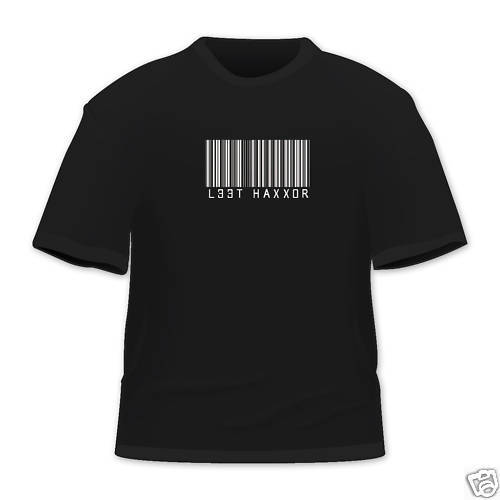 Bar Code Leet Hax Funny Geek T Shirt Cotton Multi Size Color New
