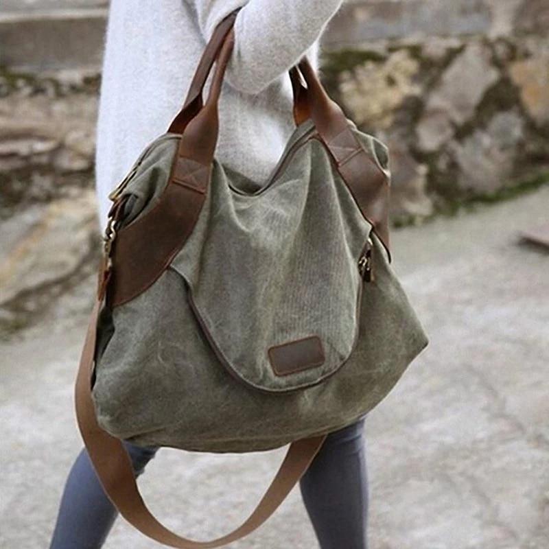 Trendmarkierung 2019 Casual Große Tasche Tasche Leder Kapazität Tasche Leinwand Schulter Tasche Frauen Leinwand Handtasche Modische Muster Gepäck & Taschen