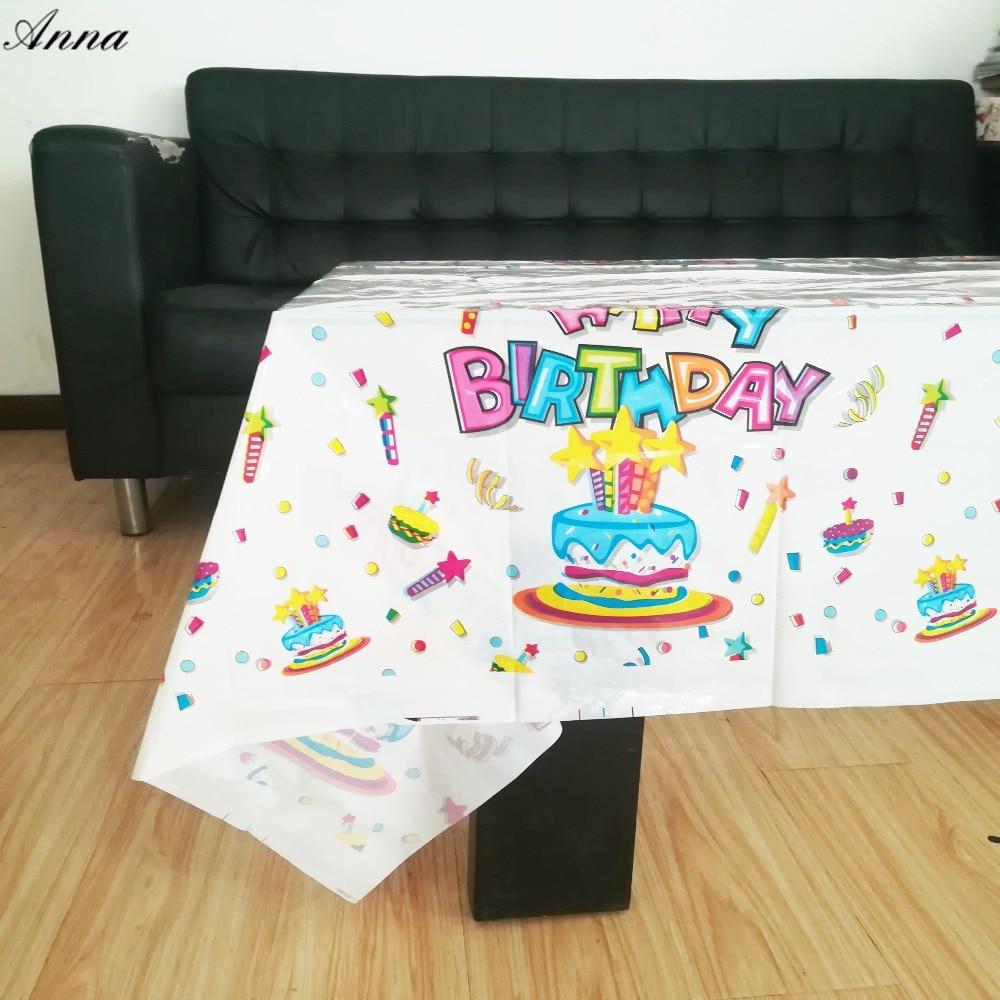 108x180cm happy birthday Tablecloth  Party Kids Birthday Decoration Partytable cloth