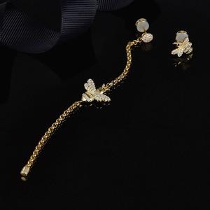 Image 3 - Женские асимметричные серьги SLJELY, длинные серьги из стерлингового серебра 925 пробы золотистого цвета с Пчелой, инкрустированные цирконием, модные вечерние ювелирные изделия