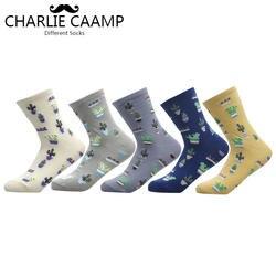 Чарли caamp 2018 Новый Для женщин хлопок однотонный жаккардовый кактус свежий и простые дамы тенденция Harajuku удобные носки G102