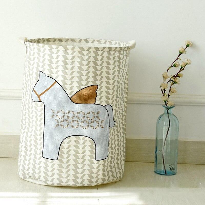 Waterproof Foldable Cotton Linen Washing Clothes Laundry Basket Bag Hamper Storage Raindrop/Stars/Wheat