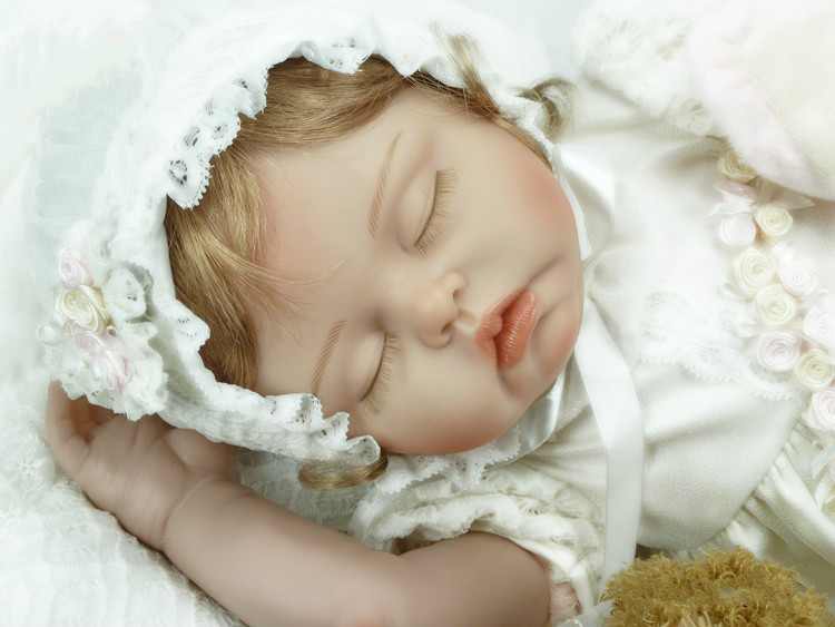55cm Silicone Vinyl Baby Reborn Dolls Kids Princess Toys Children Bebe Bjd Doll Reborn Sleeping Bonecas Christmas New Year Gifts ucanaan 1 3 bjd sd doll beauty and the beast girls dolls with outfit dress wig makeup princess doll for children new year gifts