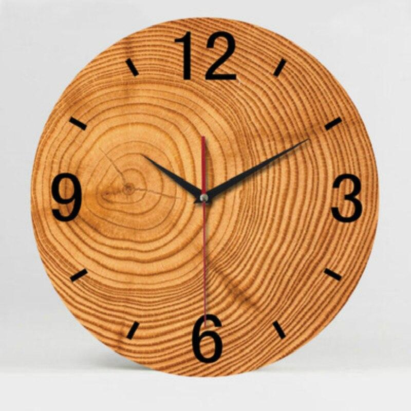 Stumm Rahmenlose Wanduhr Mode Kreative Persönlichkeit Wohnzimmer Holz Hause  Dekoration Zubehör Moderne Wanduhren