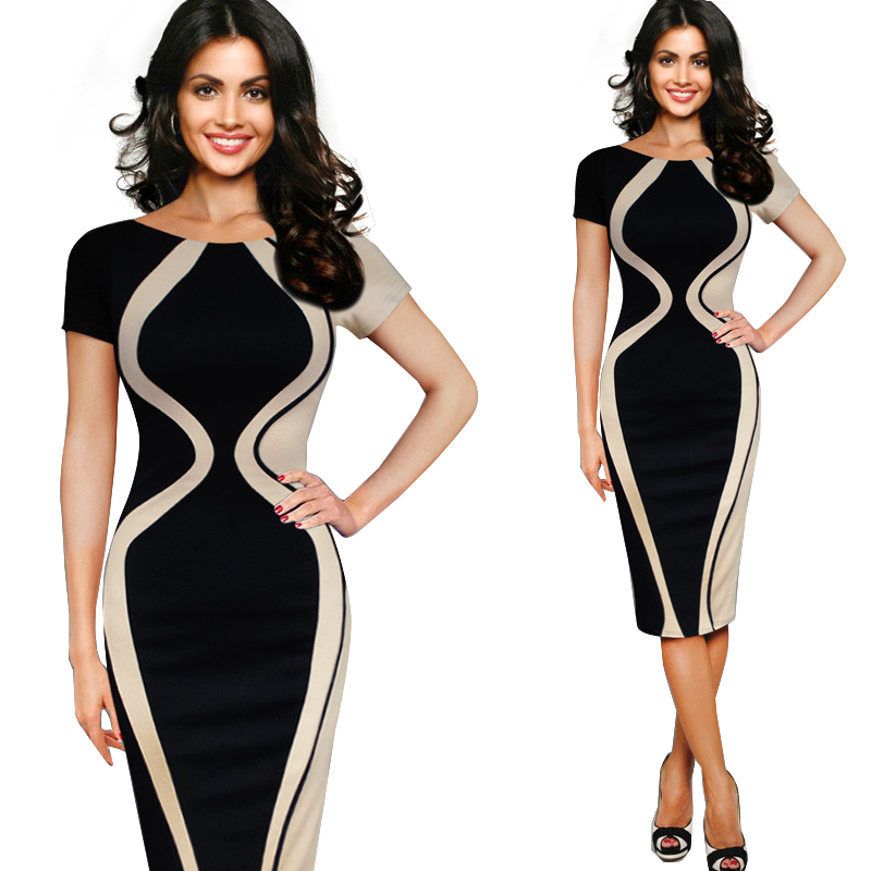 Elegant Patchwork Short Sleeve O-neck Bodycon Office Pencil Dress