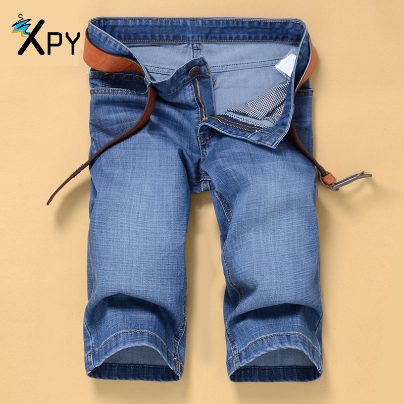Authentic Summer Male Jeans Korean Casual Five Pants Fashion New Male Shorts Does Not Contain Belt Blue Men's Shorts