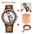 Часы BOBO BIRD мужские  кварцевые с принтом на заказ  фото  деревянные часы с циферблатом  наручные часы  мужские часы  UV-D30