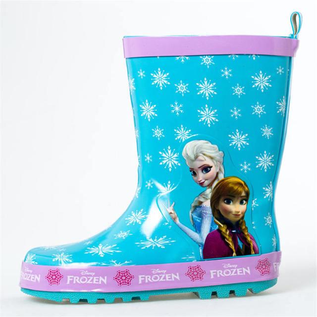 bffccfdd9c28 2019 New Disney Frozen Princess Rain boots Girls Skid shoes Annie elsa Baby  Water boots Children s overshoes rubber size 23-36