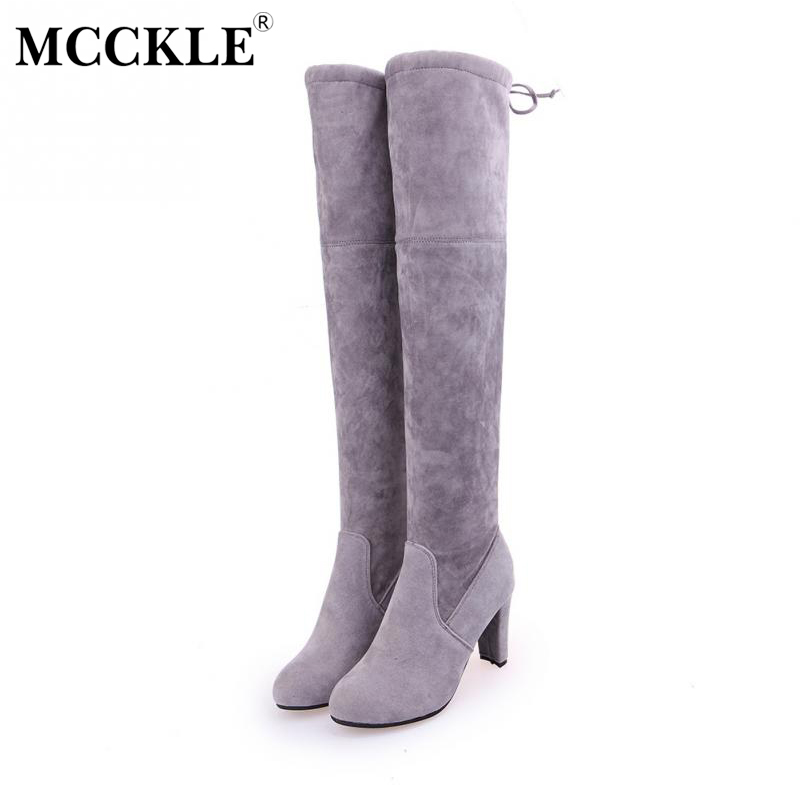 MCCKLE 2017 Female Winter Thigh High Boots Faux Suede Leather High Heels Women Over The Knee Botas Mujer Shoes Plus Size 34-43 nayiduyun new fashion thigh high boots women faux suede point toe over knee boots stretchy slim leg high heels pumps plus size