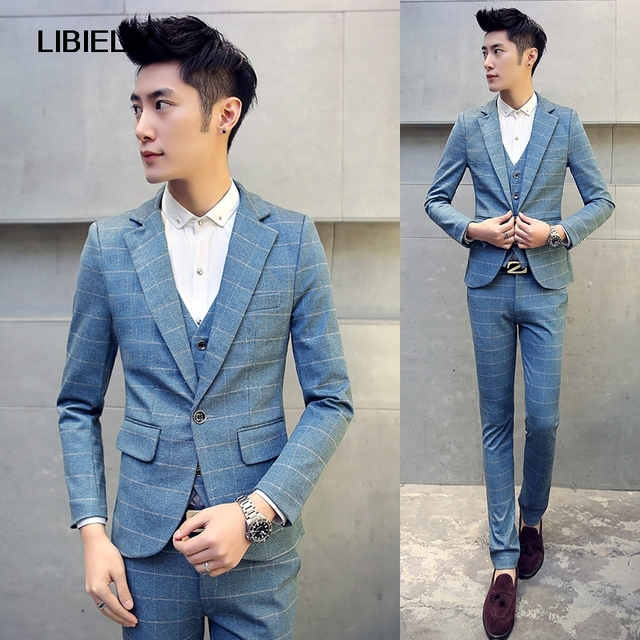 2piece Men Suit New Korean Slim Fit Elastic Wedding Dress For Fashion Plaid Formal