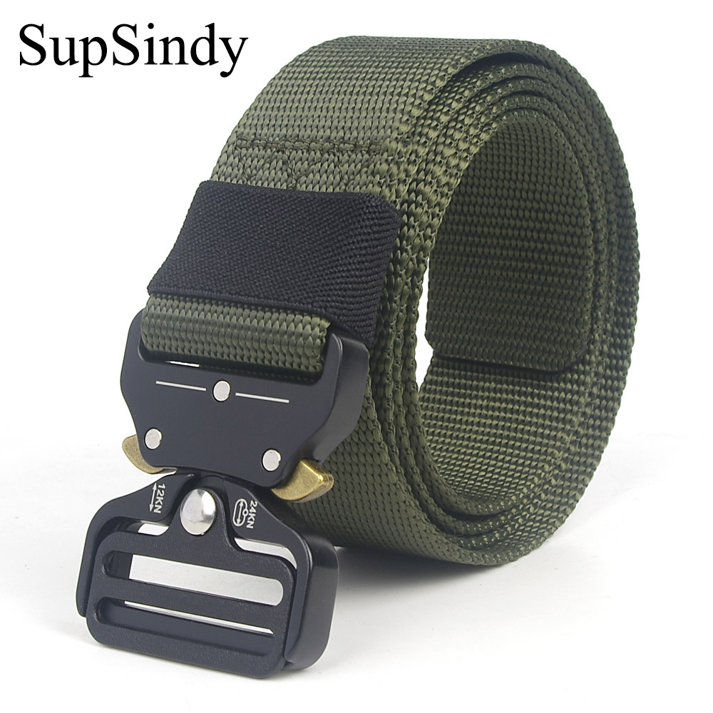 SupSindy Men&Women Tactical Belt 90--200+cm Quick Release Military Nylon Belt Outdoor Multifunctional Training Belt High Quality