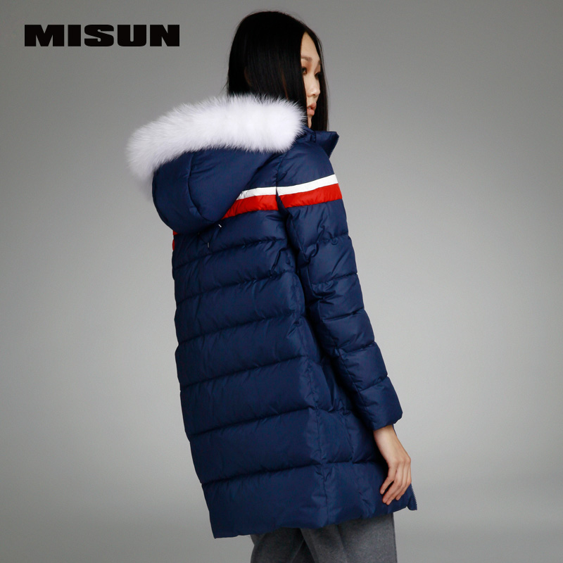 Misun 2017 winter colorant match straight medium-long with a hood thickening   down     coat   female