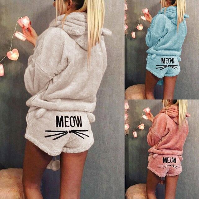 Women Soft Autumn Winter Warm Velvet Sleepwear Hoodies Shorts Set Women  Clothing 2PC Cat Embroidered Pyjamas Hooded Leisure Suit 754dac5c8