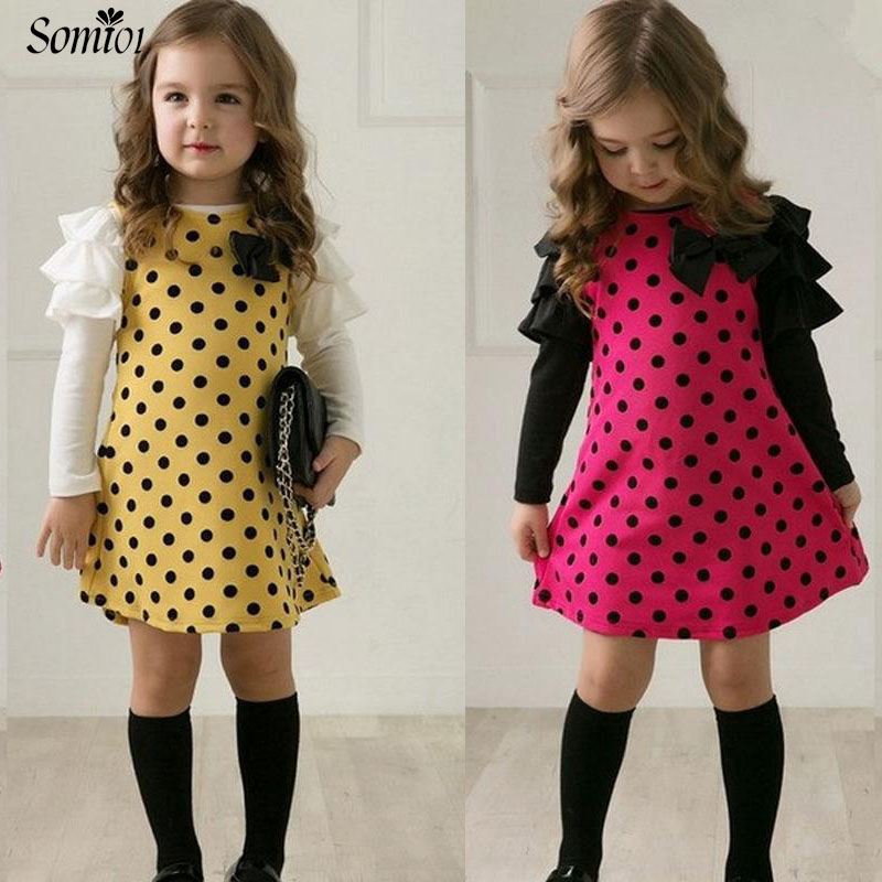 New 2018 Spring Autumn Polka Dot Children Girls Dress Clothes Toddler Kids Long Sleeve Sweet Princess Outfit for 1 3 5 6 7 Years children s spring and autumn girls bow plaid child children s cotton long sleeved dress baby girl clothes 2 3 4 5 6 7 years