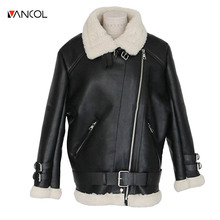 Thicken Warm Leather Jacket Women Winter Jacket Motorcycle Female Clothing Plus Size XL High Quality European Style Brand Parka