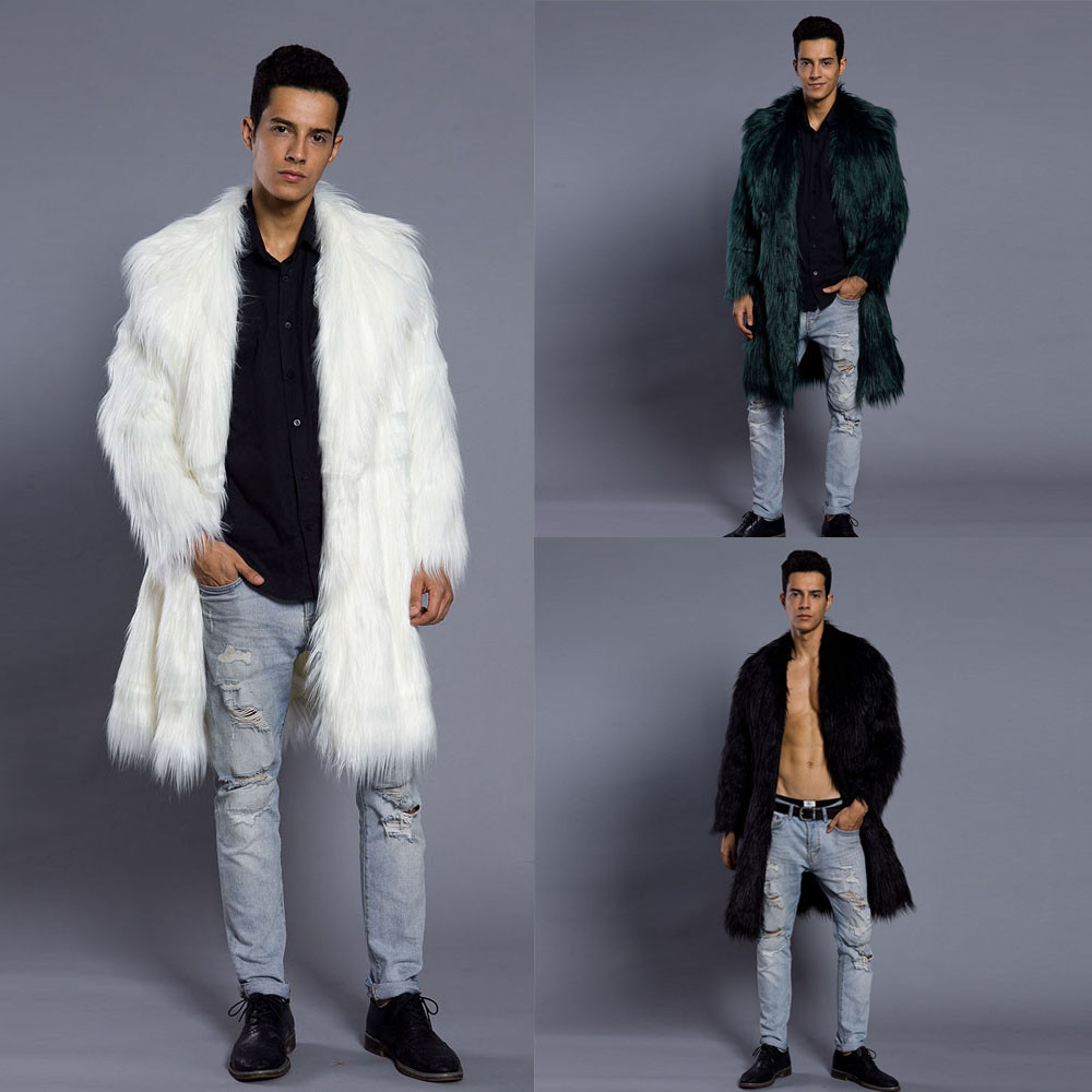 c0177050f20 2019 Mens Faux Fur Coats Jacket Fur Men Black White XXL Thick Fake ...