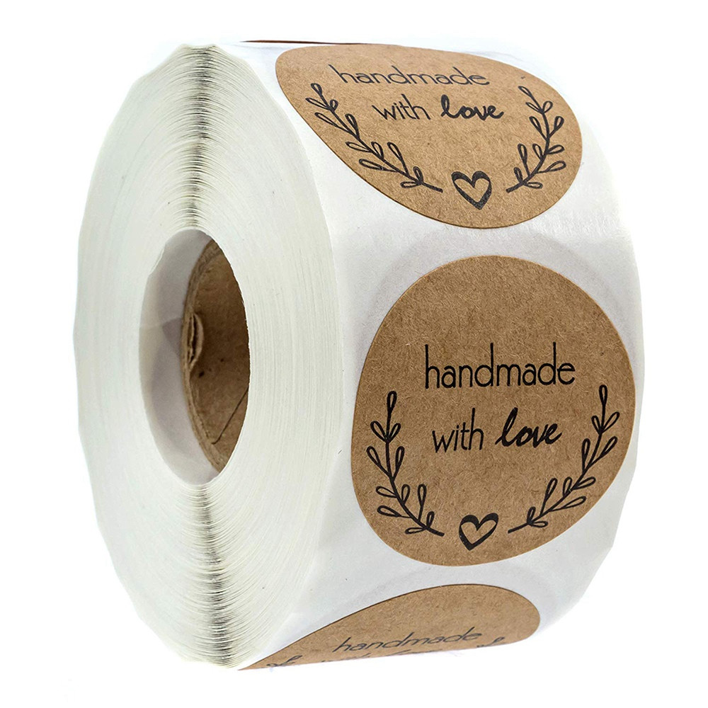 500Pcs Olive Branch Handmade With Love Stickers Natural Kraft 1 Inch Sealing Labels For Party Wedding Decoration