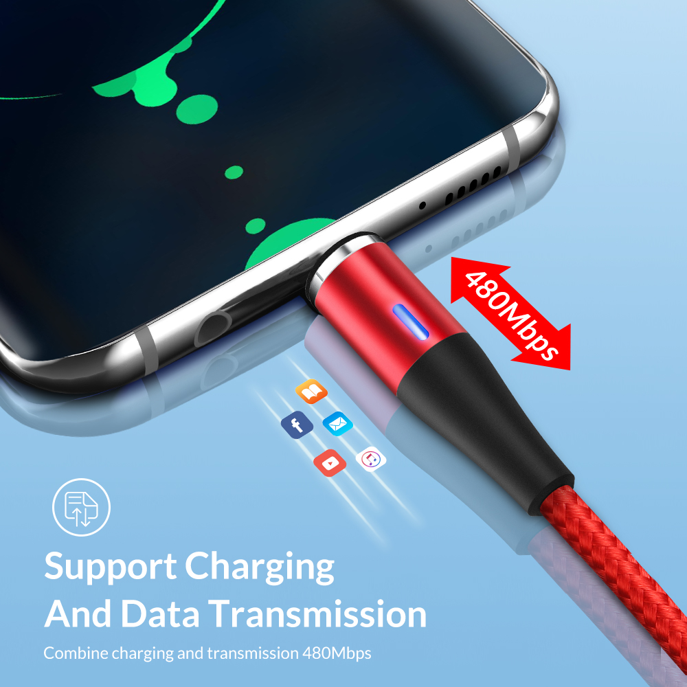 TOPK AM60 3A Magnetic USB Cable Fast Charging Micro USB Type C Cable for xiaomi redmi note 7 samsung s9 huawei for iPhone Xs Max