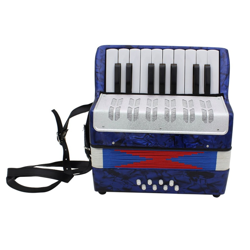 цена 1PC 17 Key 8 Bass Small Accordion Educational Musical Instrument Toy for Children Early Learning Blue Gift