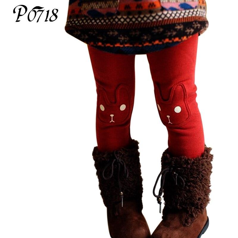 Cute Rabbit Warm Winter Baby Girls Leggings 2018 New Christmas Grey Red Legins Children Girls Pants Autumn Thick Solid Leggings