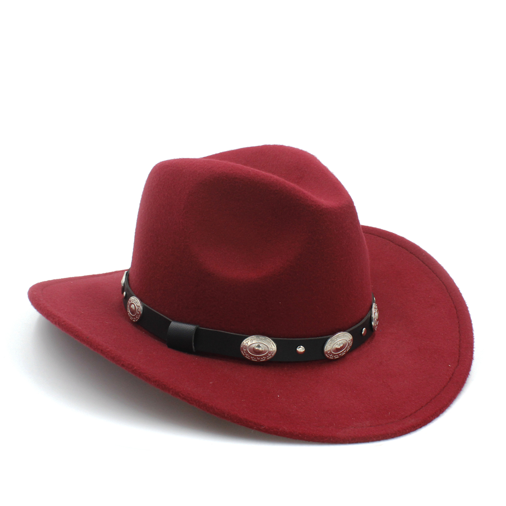 d20fbc279fc New Vintage Winter 100% Wool Western Cowboy Fedora Hat For Womem Men Wide  Brim Cowgirl Jazz Cap With Leather Toca Sombrero Cap