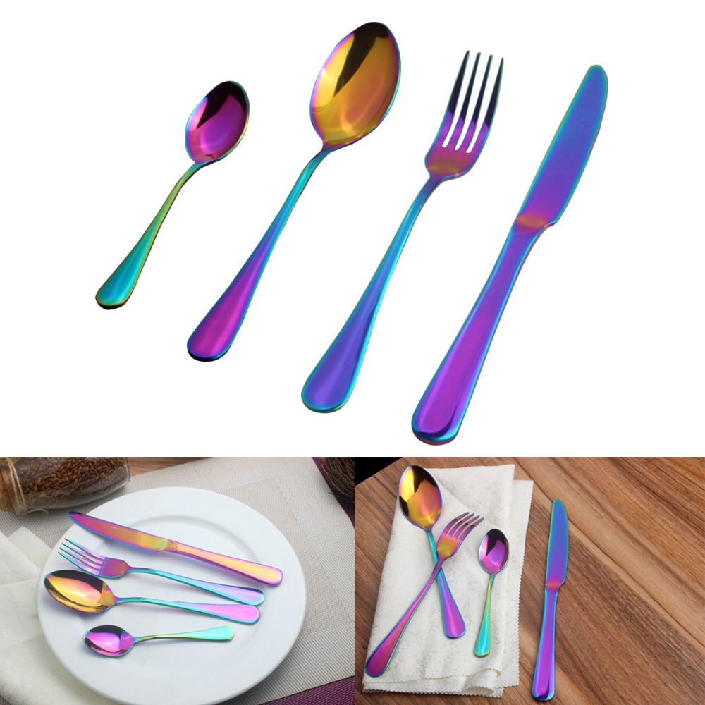 Stainless Steel Cutlery Sets Rainbow Colourful Iridescent Forks 8//16//24//32pc Set