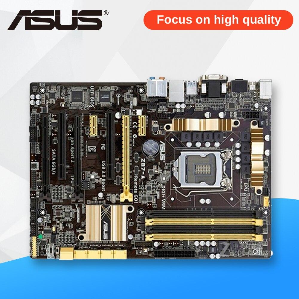 Asus Z87-A Desktop Motherboard Z87 Socket LGA 1150 i7 i5 i3 DDR3 32G SATA3 USB3.0 ATX used for asus b85m d plus desktop motherboard b85 socket lga 1150 i7 i5 i3 ddr3 16g sata3 micro atx