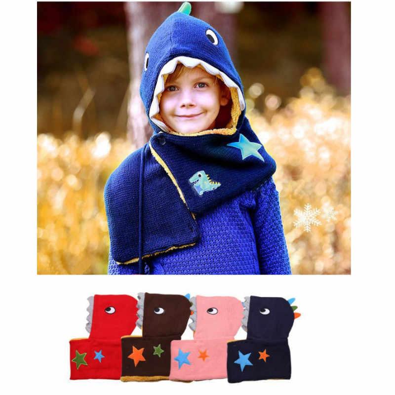f76dfe628 ... 2-4Y Dinosaur Handmade Knitted Cap Hooded Hat Baby Boy Kids Girl  Outdoor Winter Warm ...