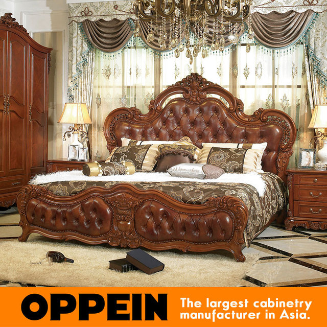 Luxury And Traditional Solid Wood Bed With Brown Leather