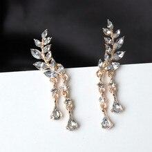 2017 New Fashion Crystal Earrings Women's Zircon Tassel Earrings Women's Leaves Tassel Earrings Alloy Earrings Jewelry Wholesale