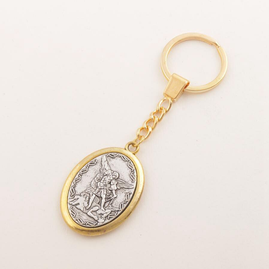 Two-Tone Catholic Patron Saint Michael St. Michael The Archangel 2inch Key Ring Travel Protection Key Chain K1779