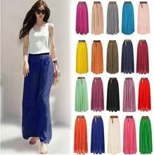 2016 New Ladies Chiffon Pleated Elastic Long Waist Skirt  7 colors