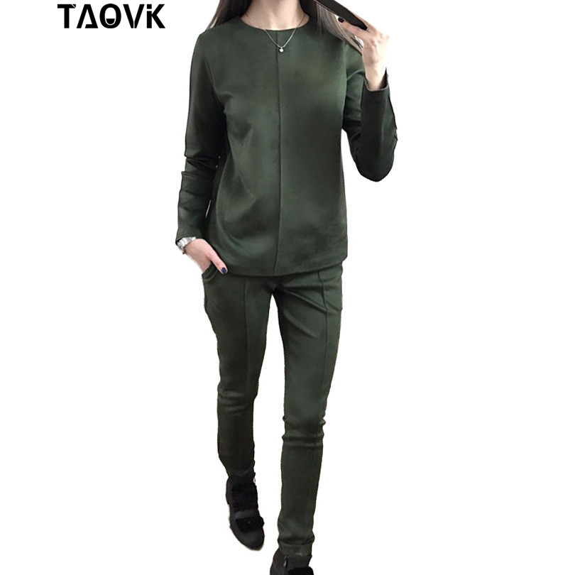 Taovk новые модные российские стиль Осенняя женская обувь замшевые спортивный костюм Для женщин толстовки 2 комплект из футболки + длинные шта...